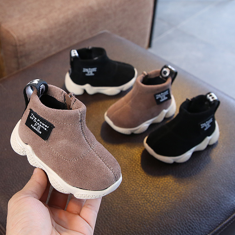 Children's Boots Winter Genuine Leather Solid Color Soft Bottom Padded Children's Shoes 0-3 Years Old Baby Warm Sports Shoes