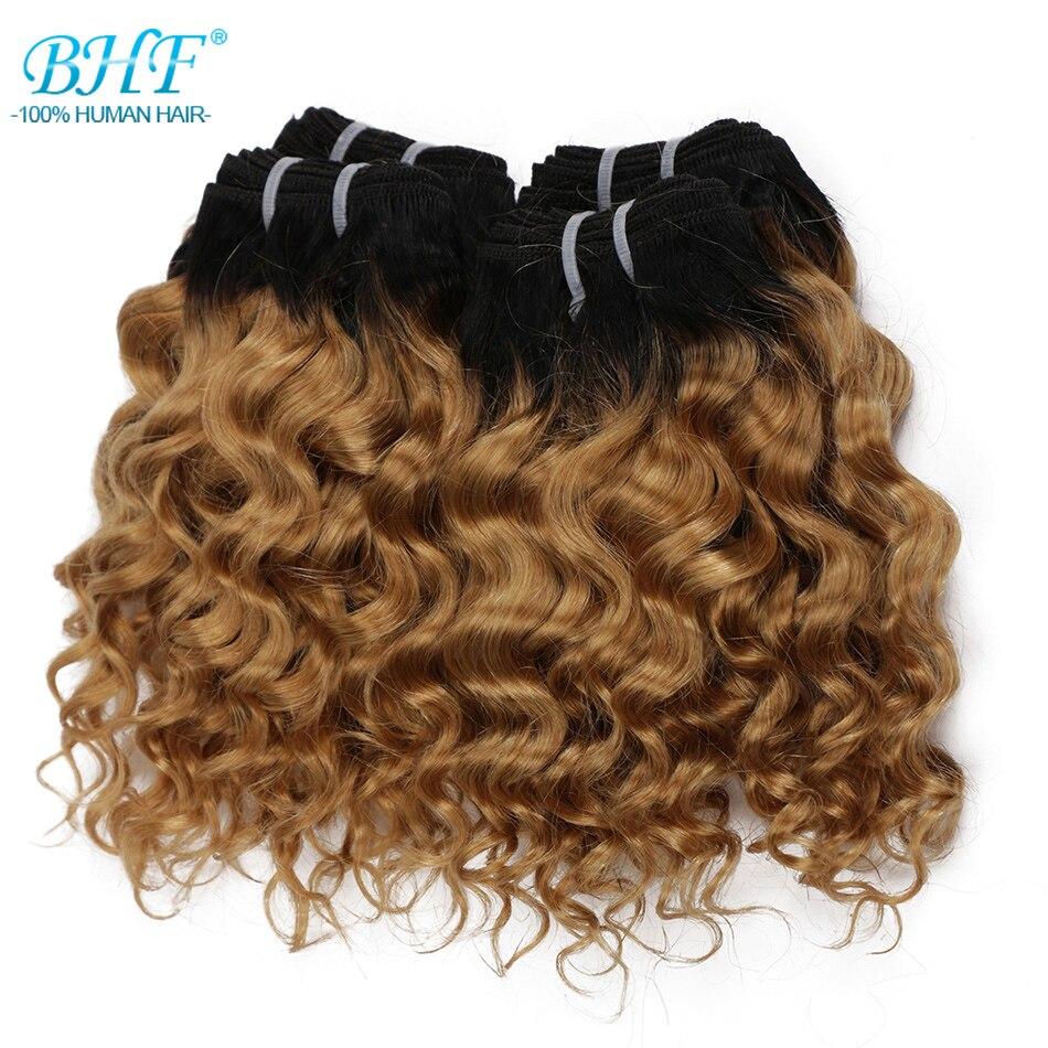 BHF brezilyalı saç kıvırmak 100% İnsan saç paketler 4 adet/grup 200G Remy Funmi derin örgü yapabilir peruk