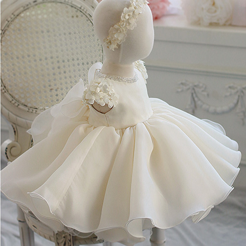 New Flower Girl Dress For Wedding Beading Appliques Lace Ball Gown Infant Princess Baby Girls Baptism Christening Birthday Gown