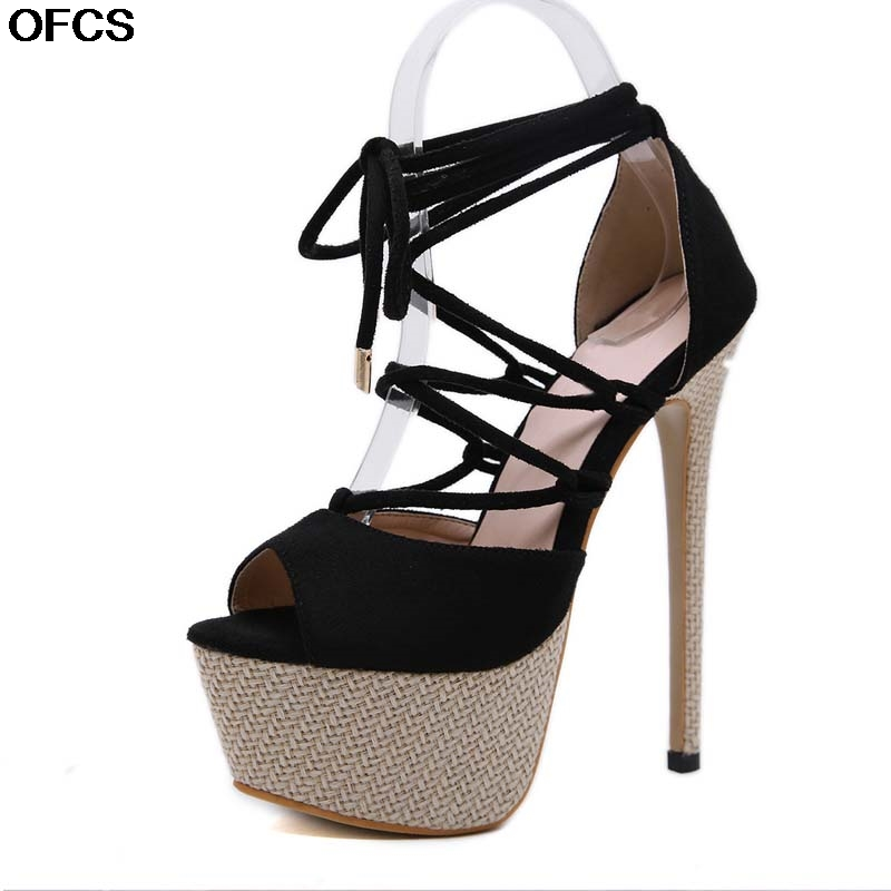 2020 New Sexy Ankle Strap Women's Sandals <font><b>Heels</b></font> <font><b>17</b></font> <font><b>cm</b></font> Gladiator Sandals Open Toe Summer Dress Women's Party Shoes Size 34-40 image