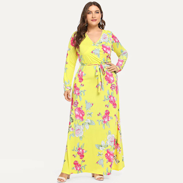 New  Bohemian dress Amazon popular V-neck split long sleeve Print Dress Holiday Beach dresses 6
