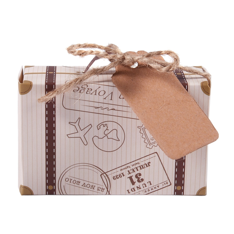 50pcs Mini Suitcase Favor Box Party Favor Candy Box, Vintage Kraft Paper With Tags And Rope For Wedding/Travel Themed Party/Brid