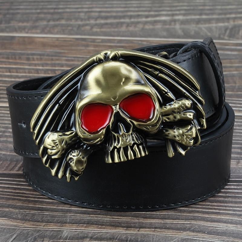 Red Eye Gold Skull Belt Buckle Casual Decorative Belt Men Punk Smooth Alloy Skulls Buckle Belts Black Brown White 105 115 130cm