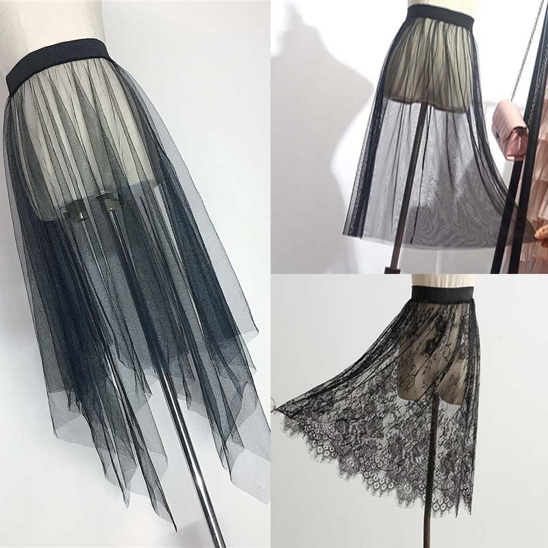 Summer Women Mesh Lace Skirts Women Casual Tulle Skirt High Waist Elastic Transparent Asymmetry Black Skirt Overskirt