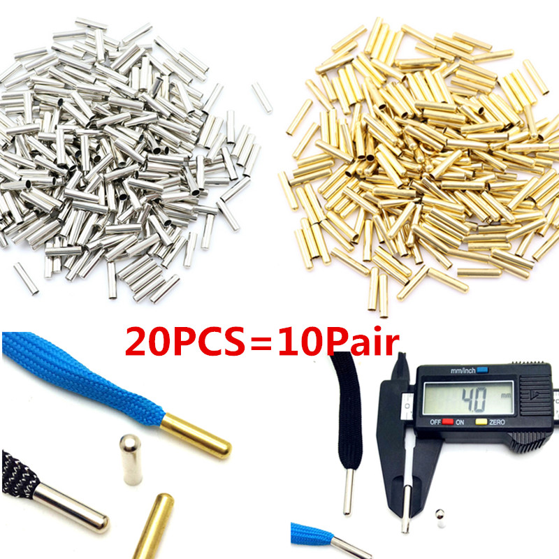 20pcs=10pair Seamless Metal Shoelaces Tips Head Replacement Repair Aglets DIY Sneaker Kits Silver Gold Colors 4x20mm