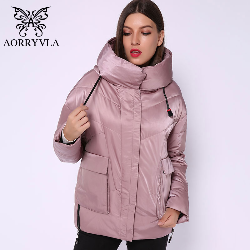AORRYVLA 2019 Winter Down Jacket Women's Hooded Jacket Short Length Loose Style Thick Warm Casual Coat Women's Fashion Jackets