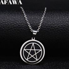 Witchcraft Pentagram Stainless Steel Necklace Men/Women Black Color Small Necklaces Jewelry Christmas Gift cadenas mujer N1892S2