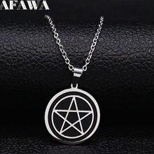 Büyücülük Pentagram paslanmaz çelik kolye erkekler/kadınlar siyah renk küçük kolye takı noel hediyesi cadenas mujer N1892S2