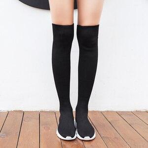 Image 4 - أحذية خريفي للنساء أحذية طويلة مطاطية أحذية قماشية قابلة للانزلاق فوق الركبة أحذية حريمي بكعب أحذية للنساء 2020 بوتاس دي موجر