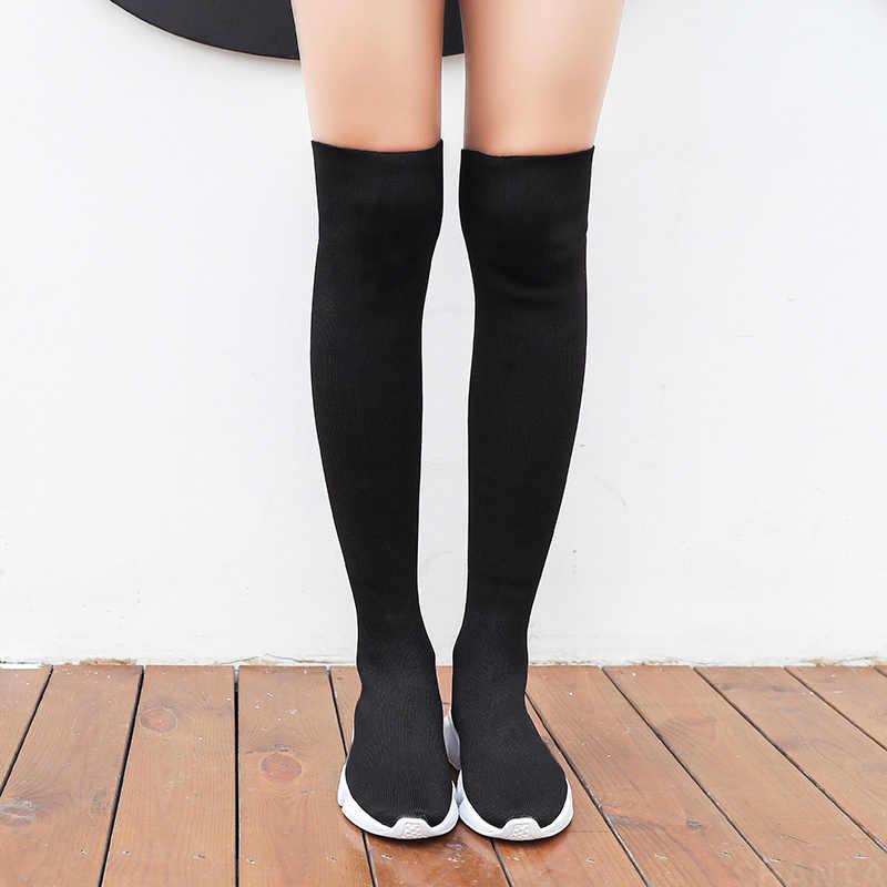 Mùa Thu Giày Nữ Sock Giày Vải Co Giãn Chống Trượt Trên Đầu Gối Giày Nữ Bơm Ủng Bọc Giày nữ 2020 Botas De Mujer