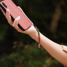 """טבעי Hetian ג ספר 6 מ""""מ קצר נייד טלפון שרשרת יד תליון חבל מקורי DIY דרום אדום אגת קלאסי בסגנון הסיני"""