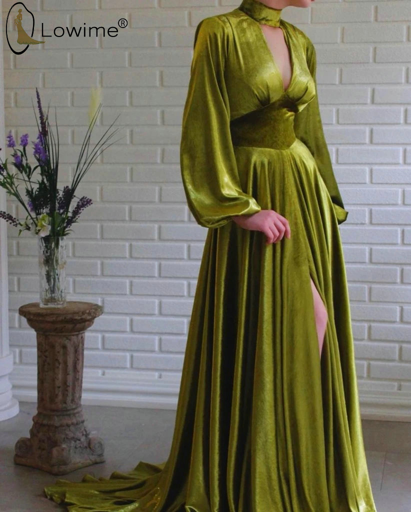 Simple Arabic Style Abendkleider Long Sleeve Evening Dresses A Line Ruched Party Prom Gowns