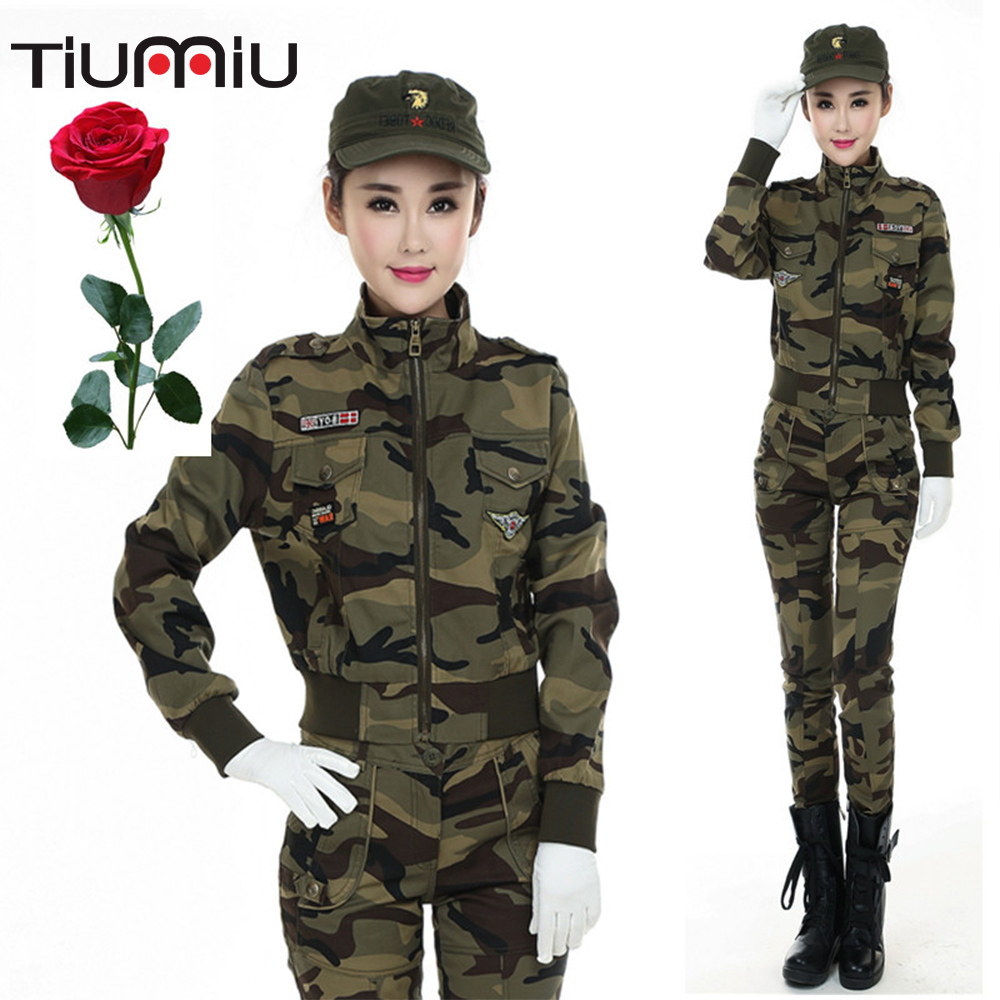 Dress Camouflage Suit Woman Outdoors Camouflage Three-piece Set Leisure Time Army Fans Military Training Sailor Dance Clothing