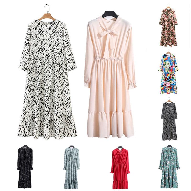 Women Dots Print Maxi Dress Pleated Three Quarter Sleeve Vintage Dress Female Casual Straight Dresses Chic Ankle Length Vestidos
