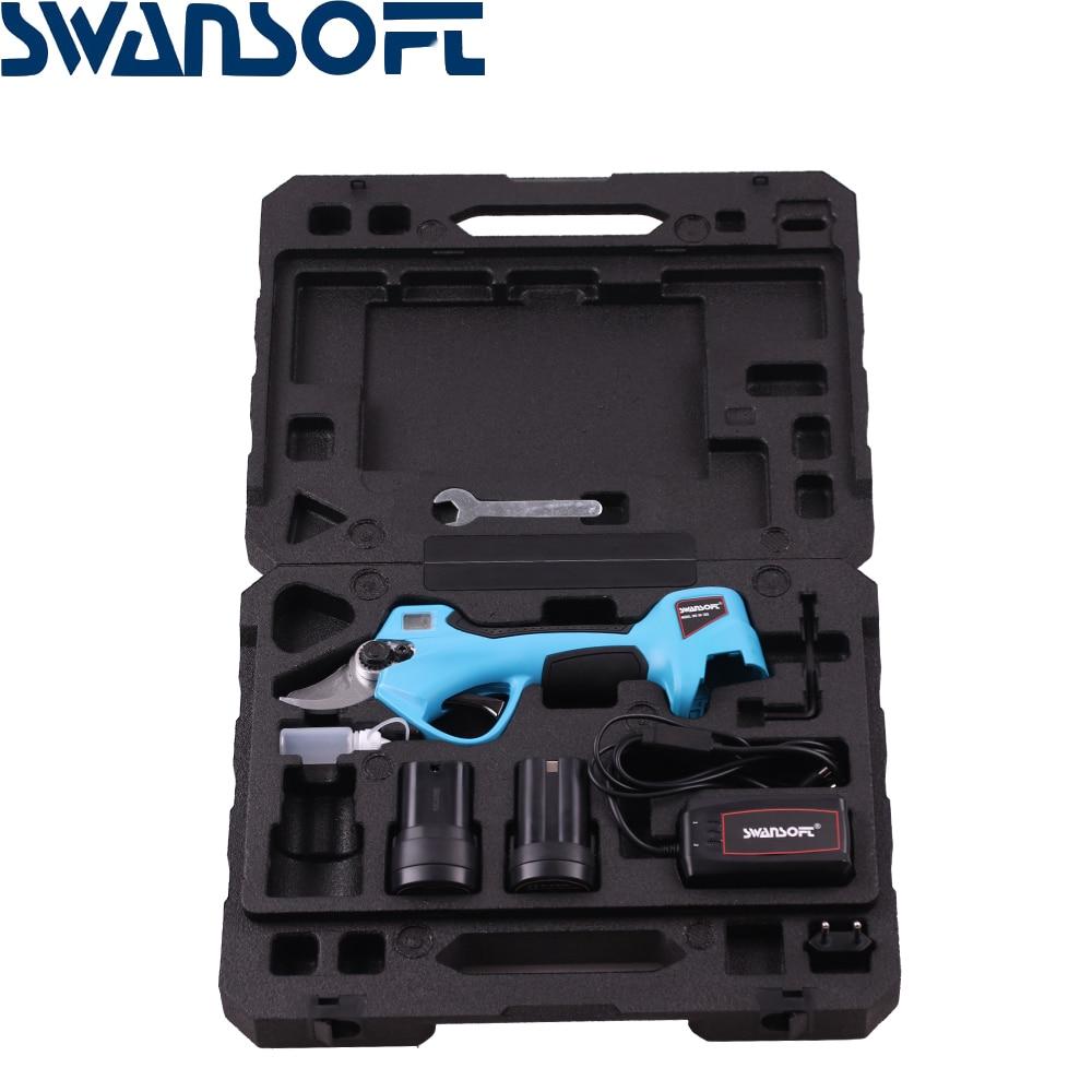 SWANSOFT 16.8V Cordless Electric Pruning Shears Profession Home Garden Scissors Lithium Battery Garden Pruner Scissors Max 25mm