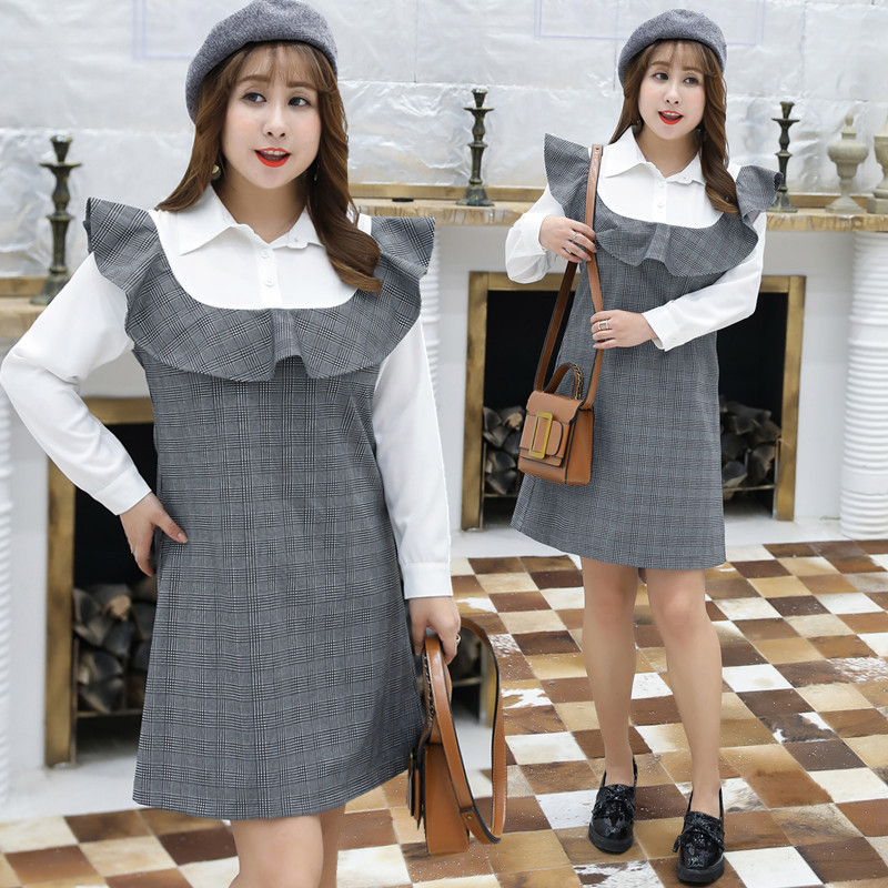 2019 Autumn Clothing Fat Mm Plus-sized WOMEN'S Dress Plaid Stitching Fake Two-Piece Full Body Dress A Generation Of Fat 1490