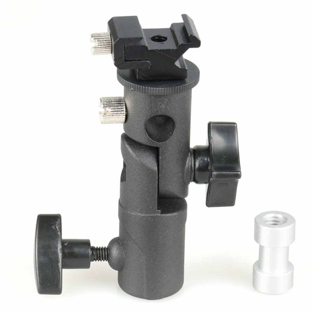 "E Type Metal Flash Bracket Universal Hot Shoe Speedlite Umbrella Holder With 1/4"" to 3/8"" Screw Mount Swivel Adapter"