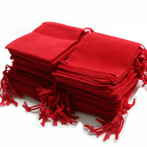 Image 4 - 100pcs 7x9cm Velvet Drawstring  /Jewelry Christmas/Wedding Gift Bags Black Red Pink Blue 5 Color Wholesale