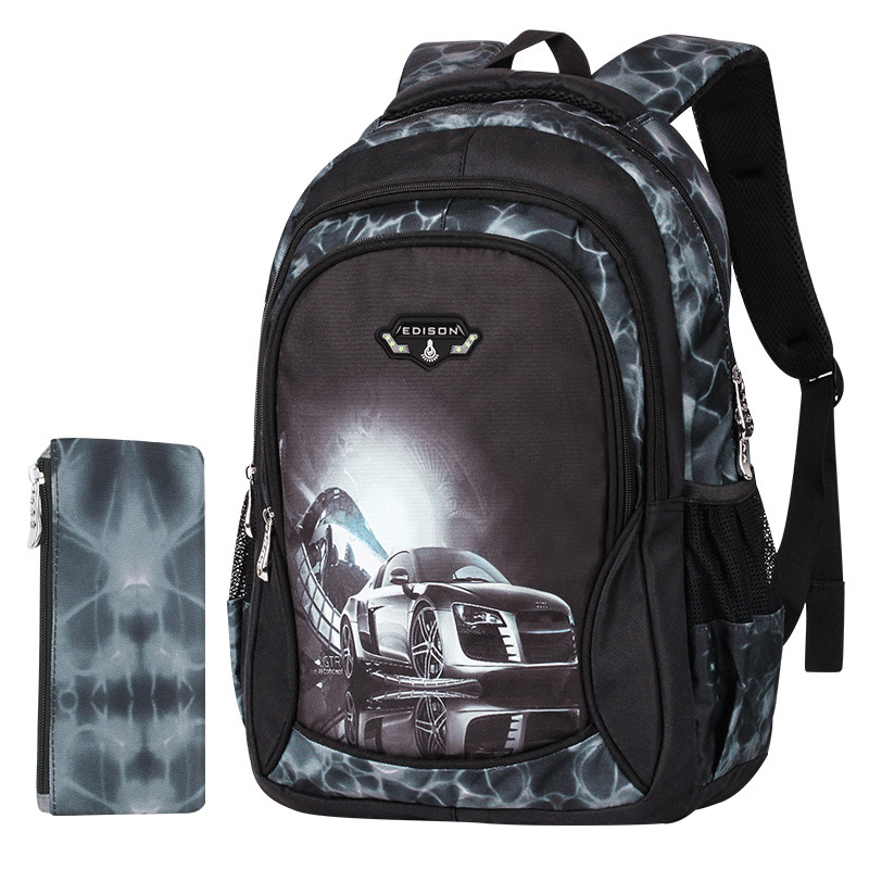 Edison (Edison) CHILDREN'S School Bags Boy Young STUDENT'S Ultra-Light Spine-Burden Relieving Sports Car Printed Backpack