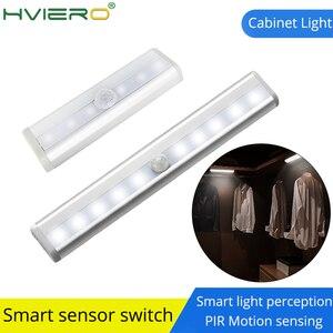 6/10 LED PIR Motion Sensor Light Cupboard Wardrobe Bed Lamp Under Cabinet Night Light Smart Light Perception For Closet Stairs