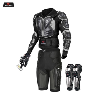 Moto Motocross Racing Motorcycle Body Armor Protective Gear Motorcycle Jacket+Shorts Pants+Protection Knee Pads+Gloves Guard wosawe motorcycle jacket motocross body armor chest back moto protective gear shorts pants knee protector gloves guard knee pads