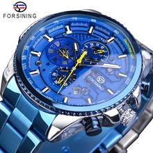 Forsining Mens Automatic Watch Blue Steel Band Calendar 3 Sub Dial Wristwatch Mechanical Waterproof Male Clock Relogio Masculino