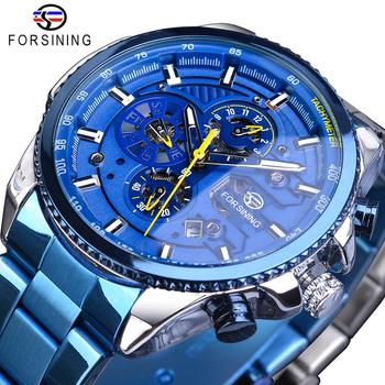 Forsining Mens Automatic Watch Blue Steel Band Calendar 3 Sub Dial Wristwatch Mechanical Waterproof Male Clock Relogio Masculino full automatic mechanical man wristwatch waterproof steel band fashion calendar watch attached leather strap