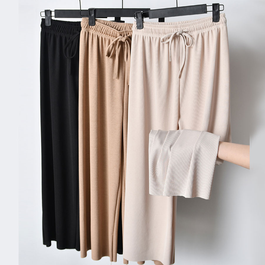 2020 Women's Summer Ice Silk Wide Leg Pants Big Yards Loose Pant Fashion Culottes Elastic Waist Ankle-Length Pants Casual Pants