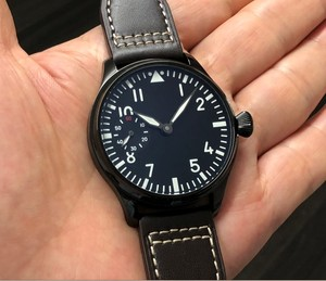 Image 3 - 44mm GEERVO שחור חיוג 17 תכשיטים אסיה 6497/3600 מכאני יד רוח תנועת גברים של שעון PVD מקרה מכאני שעון gr197a