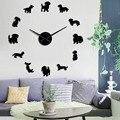 Такса, собака, порода, большие DIY настенные часы, часы с изображением щенка, животных, зеркальные наклейки, домашний магазин, Декор, Висячие ч...