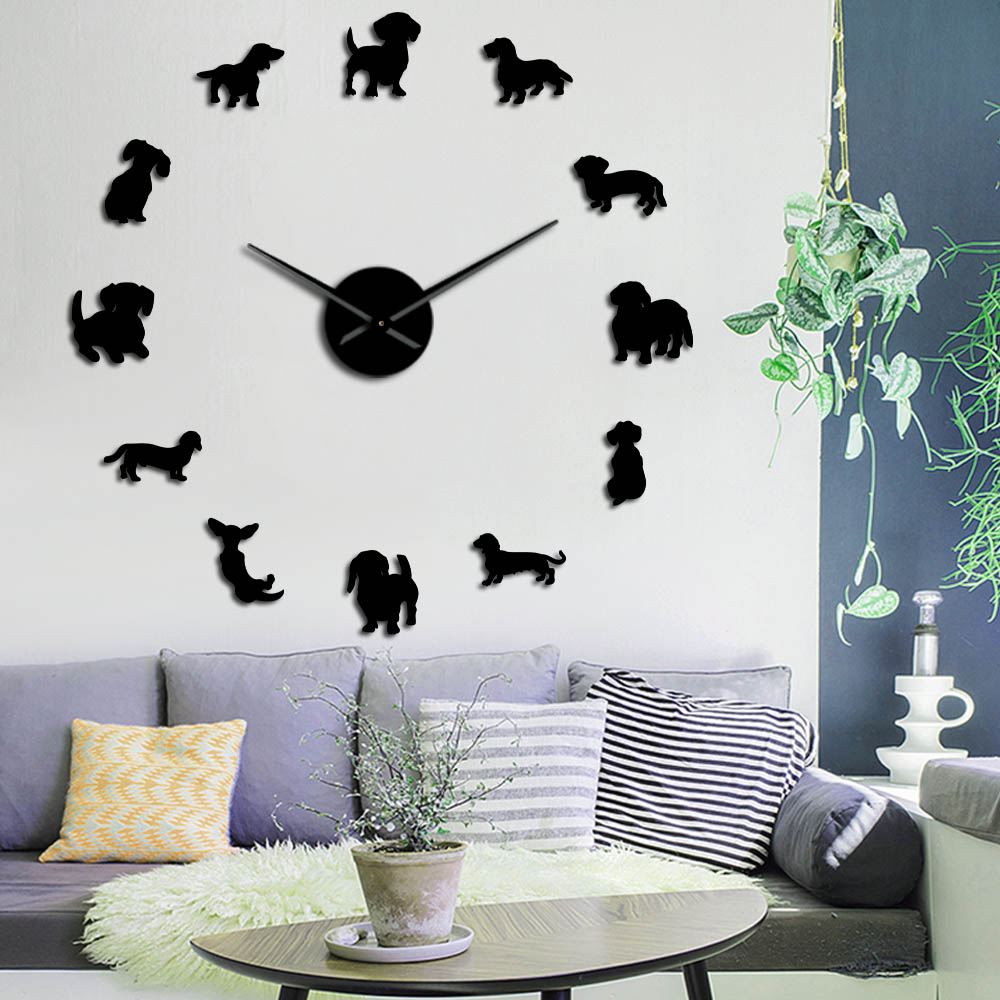Dog Breeds Oversized DIY Wall Clock Lovely Puppy Dachshund Animals Hospital Wall Art Pet Store Decor Clock Gift For Dog Lover
