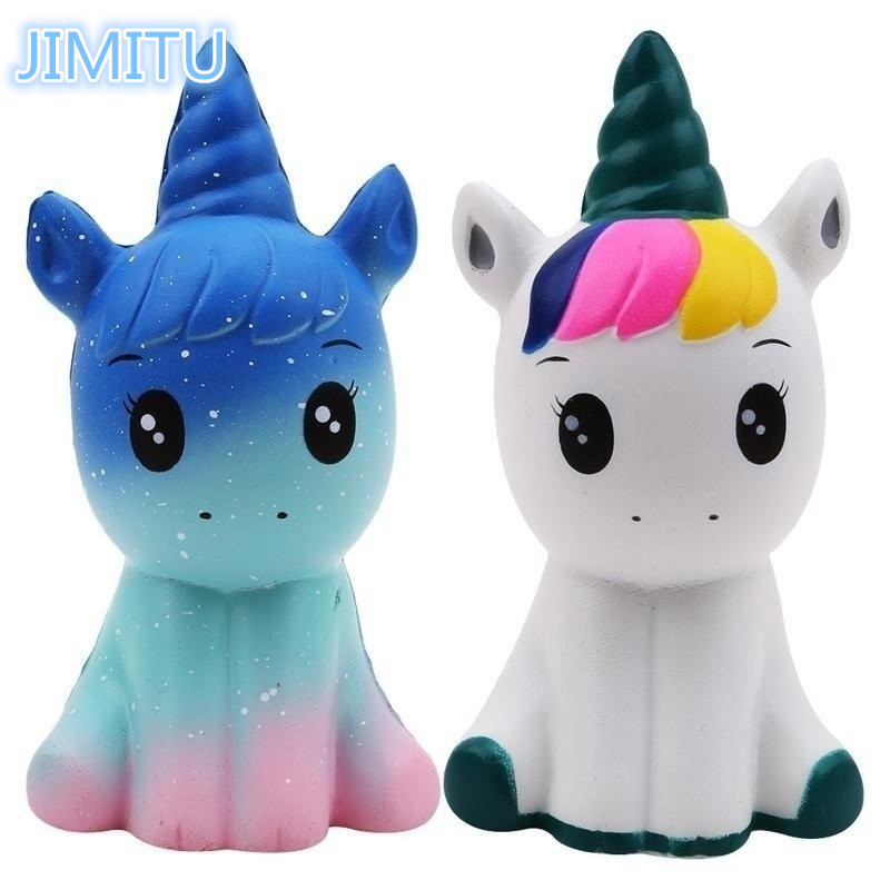 JIMITU Colorful Galaxy Unicorn Squishy Doll Slow Rising Stress Relief Squeeze Toys For Baby Kids Xmas Gift 12*6*5CM