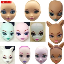 Mix Style Soft Plastic Practice Makeup Doll Head For Monster High Doll Heads For 1/6 BJD Monster Doll Head Without Hair Kids Toy 5pieces lot soft plastic open eye practice makeup doll head 1 6 white double fold eyelid diy heads for barbies bjd make up