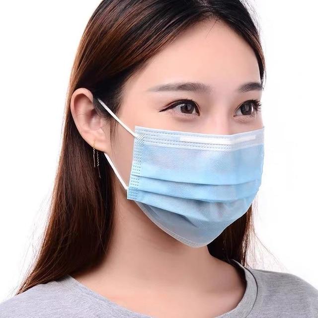 50pcs/set, 3-Ply Disposable Face Mouth Mask Anti Flu Dust Proof Earloop Mask Anti-fog Masks