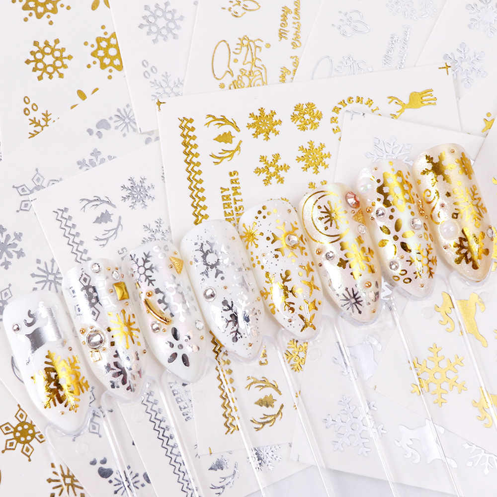1 Pc คริสต์มาสสติกเกอร์เล็บ Gold Silver Snowman ฮาโลวีนรูปแบบ Designs Decals เคล็ดลับ DIY ตกแต่งเล็บ