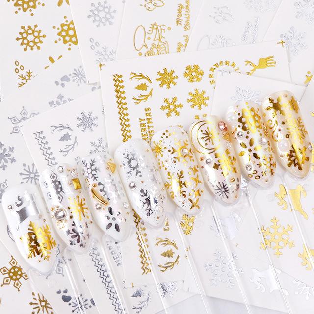 1 Sheet Gold Silver Nail Sticker Christmas Xmas Tree Sliders Manciure Transfer Water Decals Nail Art Decoration DIY Design