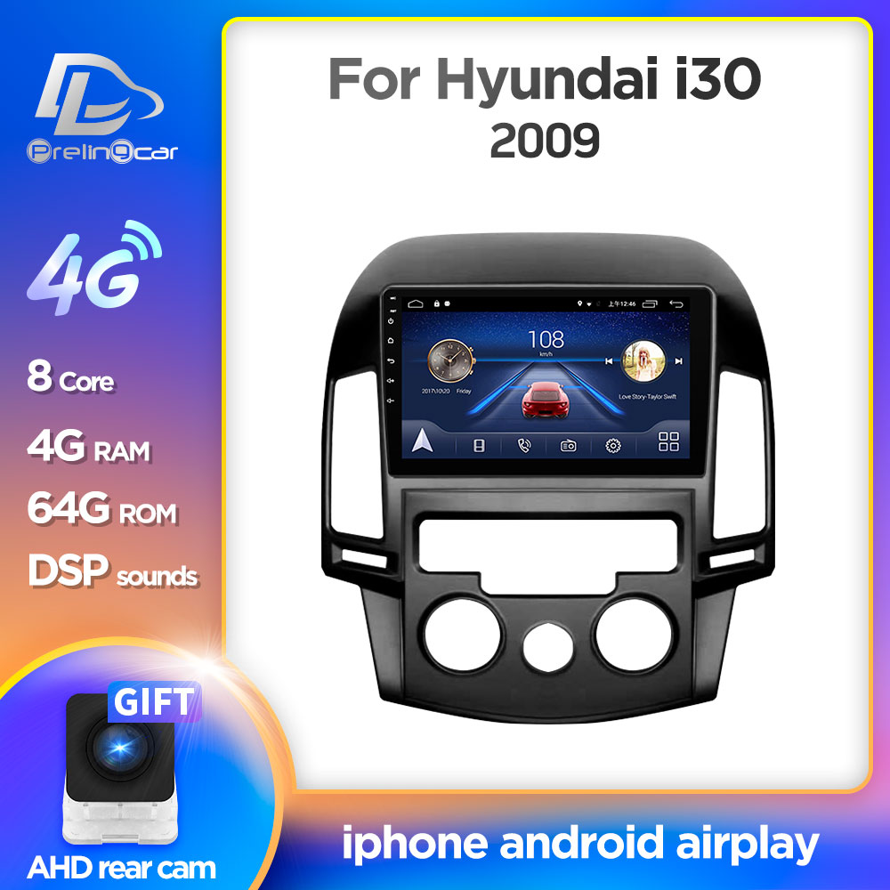 Android 9.0 System Car IPS Touch Screen Stereo For HYUNDAI I30 Manual Air Conditioner Player Stereo