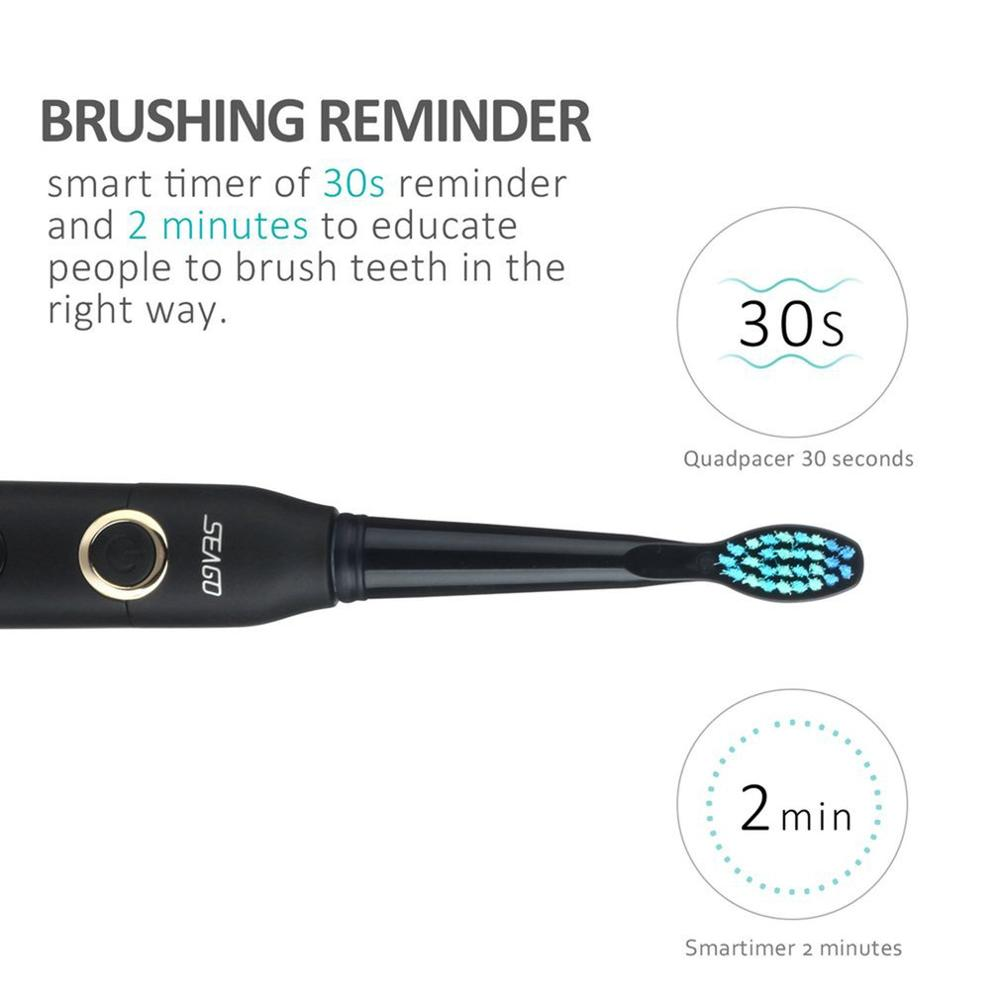 Seago SG-507 Electric Toothbrush Smart Timer Sonic Brush USB Rechargeable Waterproof Tooth Brush for Adult