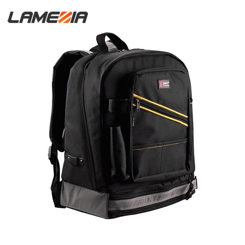 LAMEZIA Multifunction Waterproof Backpack Tool Work Oxford Cloth Bag Electrician Carpenter Instrument Cases With Handbag Toolkit