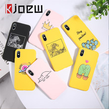 Kjeow Grappige Cartoon Avocado Telefoon Case Voor Iphone 11 Pro Max X Xr Xs Max 7 8 6 6S plus Se 2020 Siliconen Candy Kleur Back Cover(China)