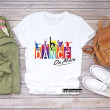 Camiseta com estampas de amores de la danza de zumba de arco íris para mujer, camiseta de moda para mujer, camiseta de hip hop