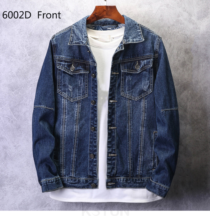 KSTUN Mens Jean Jacket Coats Light Blue Streetwear Loose Fit Ripped Denim Jacket for Man Teens Single-breasted Large Size 4XL 16