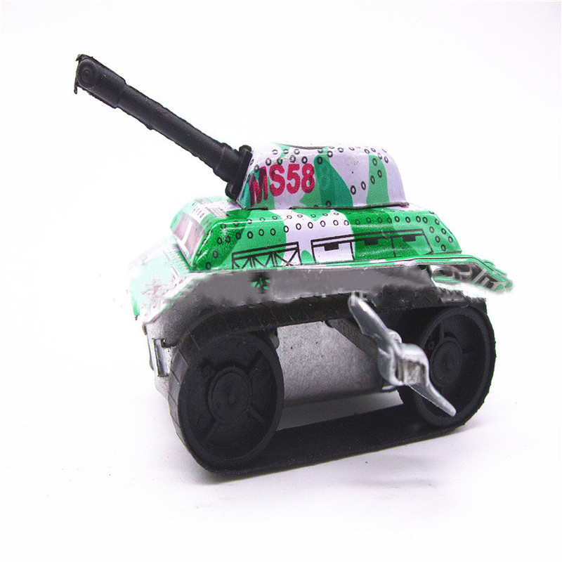 1PC Mini Tank Design Metal Toys Vintage Tin Friction  Kids Childhood Classic Wind Up Clockwork Tin Toy Classic Toys