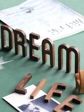 Musowood 1pcs 호두 나무 문자 고품질 알파벳 디자인 영어 DIY 공예 웨딩 생일 파티 홈 벽 장식