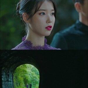 Image 2 - Lila mit brosche spitze Elbow sleeve Kleid mit gürtel für frauen DEL LUNA Hotel gleiche IU Lee Ji Eun sommer temperament süße kleid