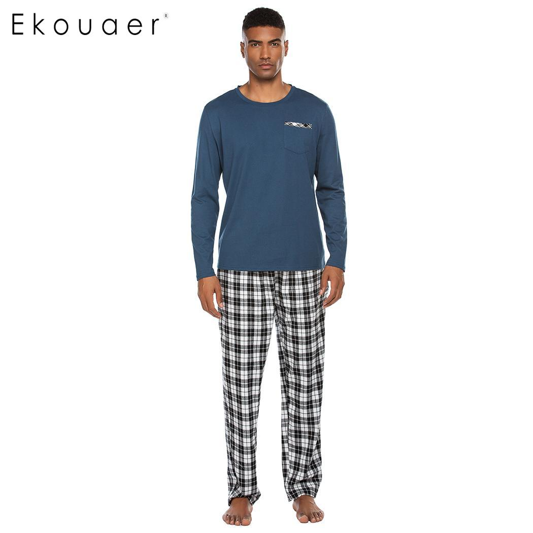 Ekouaer Men's Autumn Winter Sleepwear Pajamas Sets Casual Long Sleeve Sleepshirt And Long Night Pants Pajama Set Male Loungewear