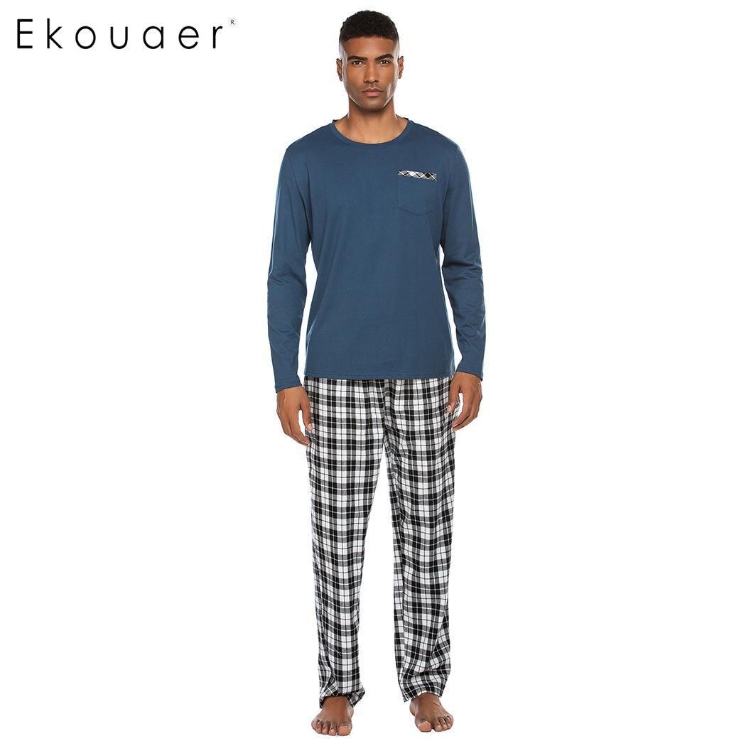 Ekouaer Men's Autumn Winter Sleepwear Pajamas Sets Casual Long Sleeve Sleepshirt And Long Night Pants Pajama Set Male Loungewear