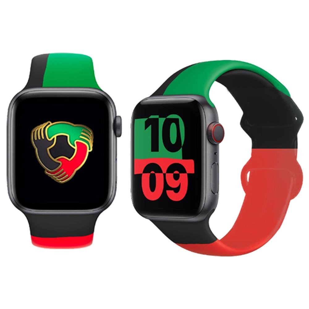 Ремешок спортивный для Apple Watch, черный браслет для iWatch 44 мм 40 мм 38 мм 42 мм, силиконовый браслет для Apple Watch 2/3/4/5/6/SE