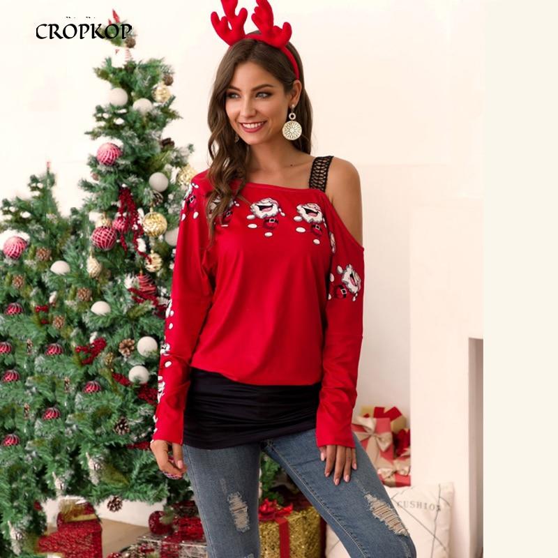 T Shirt Women Autumn Winter Long Sleeve Santa Print Stitching Vogue One Shoulder Tee Tops Feminina Casual Christmas Clothes 2019