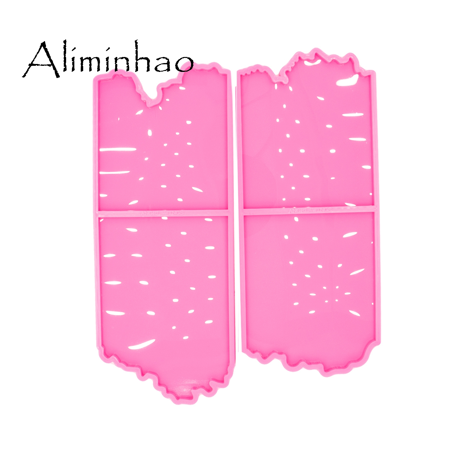 DY0456 2pc/set Shiny High Quality Square Shape Silicone Molds Epoxy Resin DIY Geode Coasters Mould